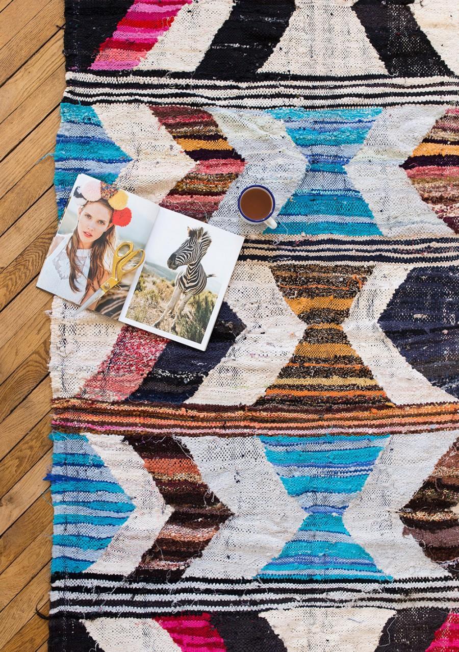 """Mariage - Vintage Moroccan Boucherouite Kilim Rug, """"The Finch,"""" Pastel Rug, Pink Rug, Boho Rug, Berber Rug, Bohemian, Nursery Rug, Kids Rug"""