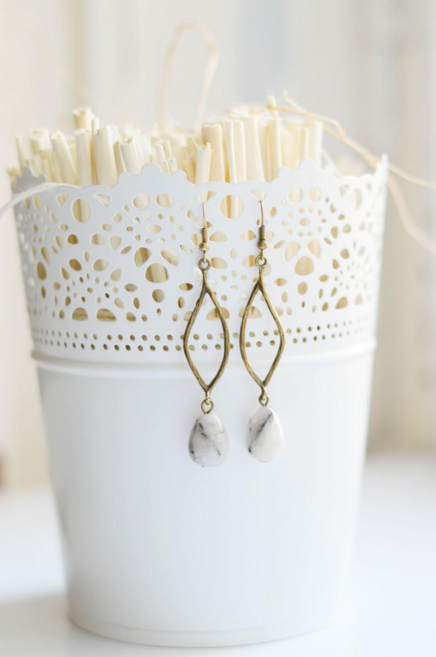 Mariage - DROP Earrings from metal brass and natural stone agate