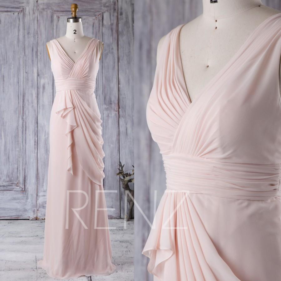 Wedding - 2016 Light Wheat Bridesmaid Dress, V Neck Wedding Dress, Draped Chiffon Prom Dress, Women Formal Dress, Evening Gown Floor Length (J038)