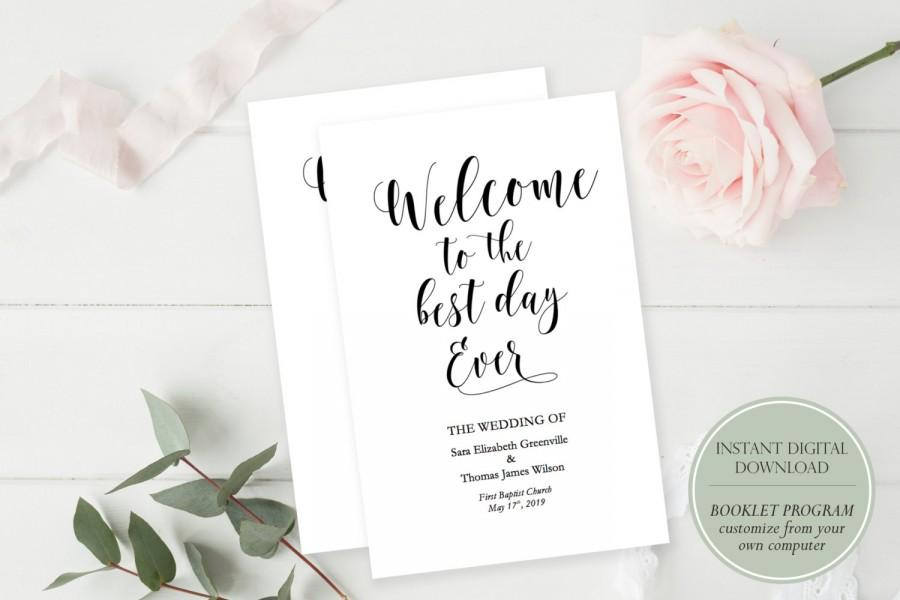 Belle booklet program printable wedding program instant digital belle booklet program printable wedding program instant digital download diy template editable in microsoft word 55 x 85 folded maxwellsz