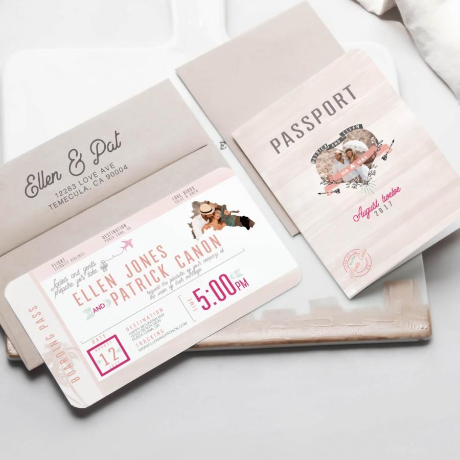 destination passport and boarding pass with rsvp wedding With passport wedding invitations with boarding pass rsvp