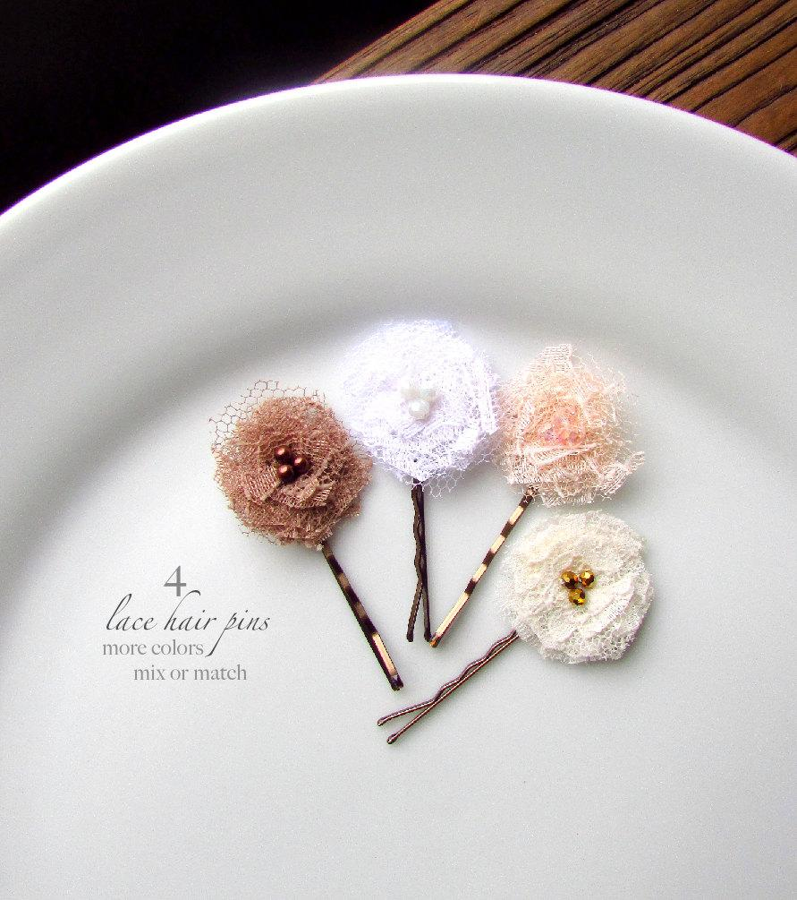 """Mariage - PICK 4 Shabby Flower Hair Pins, Lace Bridal Floral Hairpins, Tiny Fabric Flower, Nude Blush Champagne Ivory White Wedding Hair flowers 1"""""""
