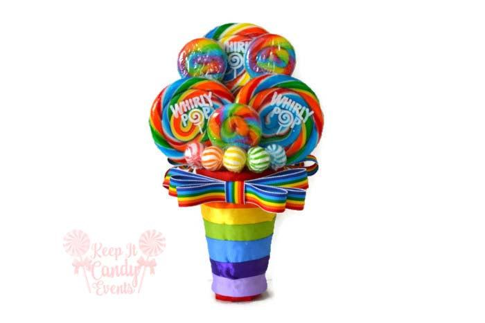 Hochzeit - Rainbow Lollipop Bridesmaid Bouquet, Maid of Honor Rainbow Bouquet, Rainbow Bouquet, Small Rainbow Wedding Bouquet, Rainbow Wedding Ideas