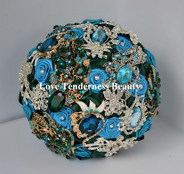 Wedding - Brooch Bouquet Turquoise Green Wedding Bouquet Gold Silver Bouquet Bridal Bouquet Peacock Bouquet Jewelry Bouquet Custom Crystal Bouquet