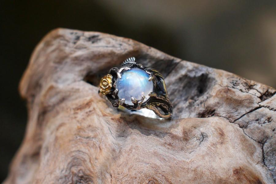 """Wedding - Sterling Silver Rainbow Moonstone Ring """"Cleo"""" READY TO SHIP, moonstone engagement ring,delicate ring,flower ring, rose ring"""