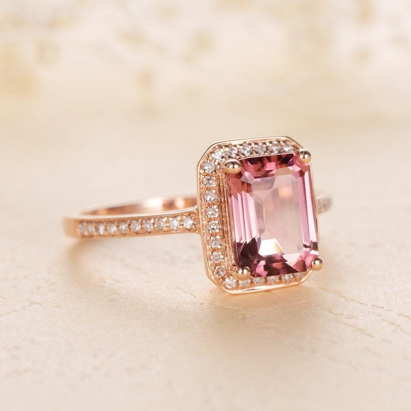 Mariage - Baguette red tourmaline engagement ring,Halo diamond wedding ring,Bridal ring,Red tourmaline anniversary ring,Diamond half eternity ring