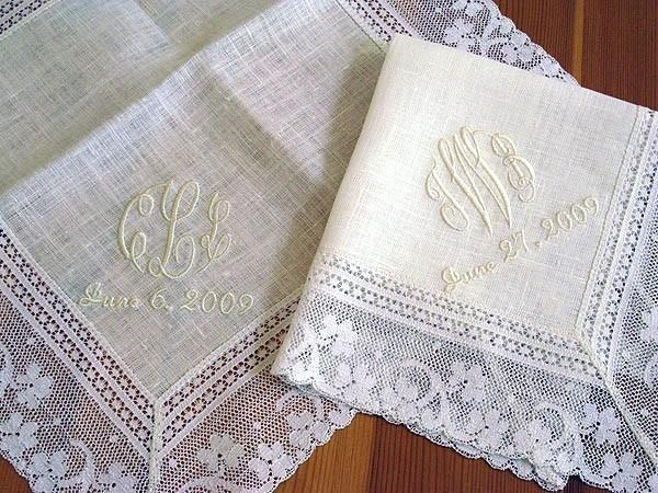 Wedding Handkerchief Ivory Color Irish Linen Lace With 3 Initial Monogram And Date