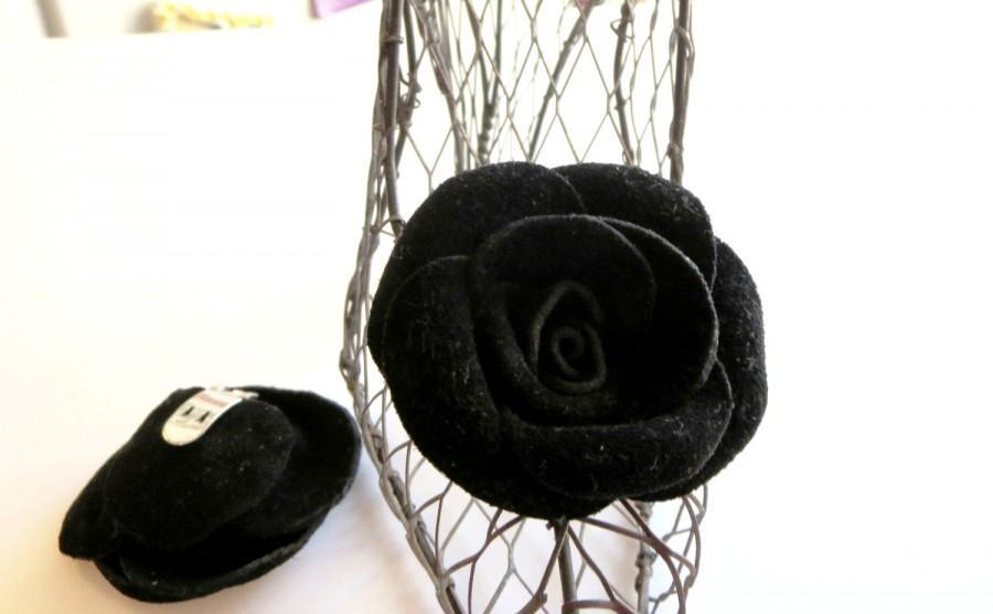 Mariage - Shoe clips - Leather rose shoe clips, black suede shoe clips-  leather rose -baby, girl,woman shoe clips ,flip flop   shoes accessories