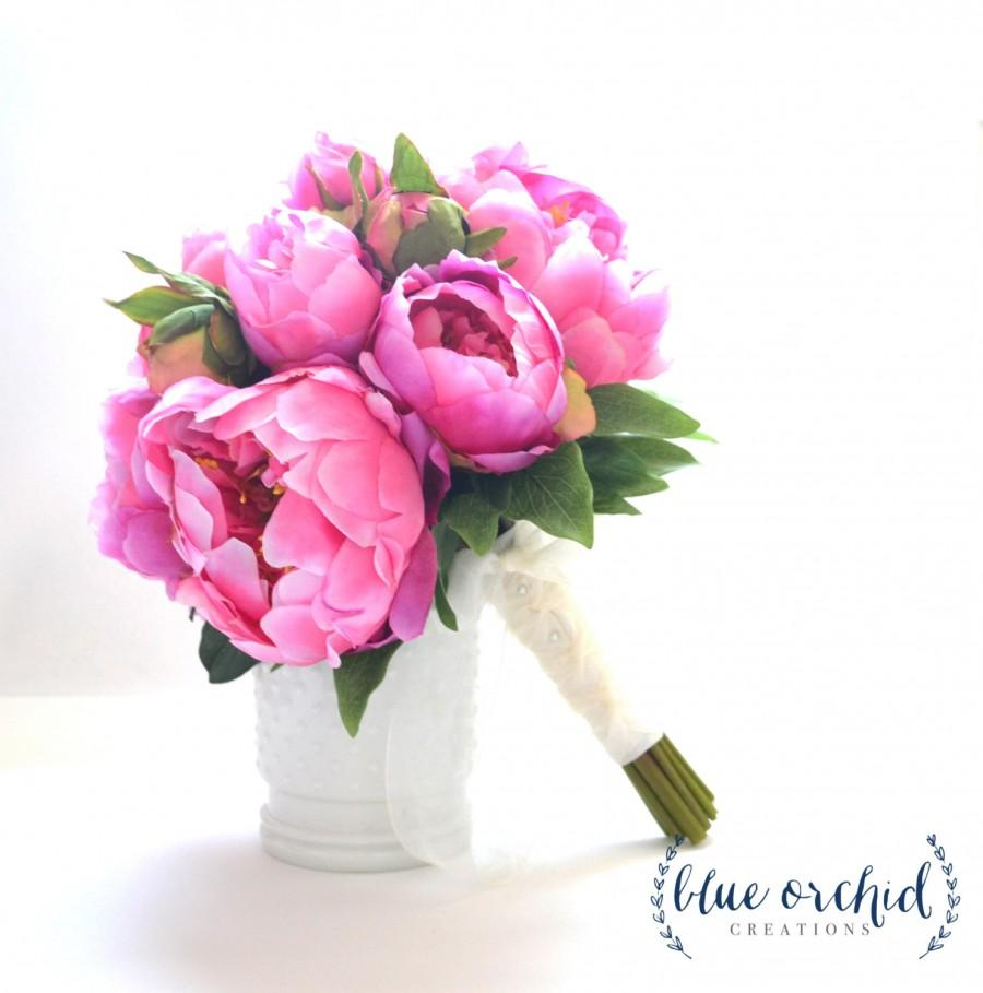 Hot Pink Peony Bouquet Wedding Peonies Silk Bright