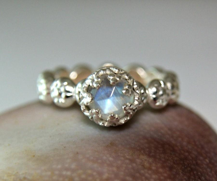 327d0753079 Sterling Silver Moonstone Ring, Faceted Gemstone, Blue Flash ...