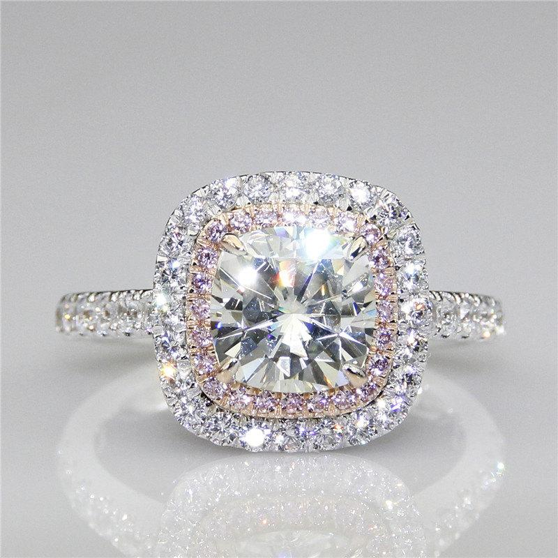 Свадьба - Cushion Cut 2ct Esdomera Moissanites Double Halo Pink Pave Set Accents 14k White Gold Engagement Ring (CFR0467-ESMS2CT)