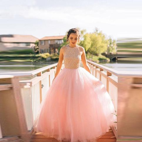 Wedding - Dramatic Round Neck Sleeveless Floor-Length Pink Prom Dress with Beading from Tidetell