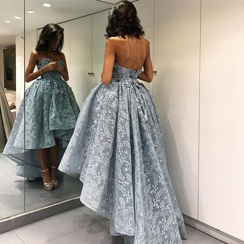 Wedding - High Low Sweetheart Sleeveless Light Sky Blue Lace Prom Dress with Appliques from Dressywomen