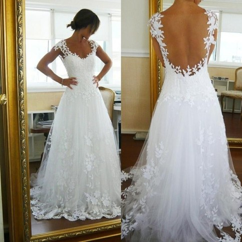 Wedding - Amazing A-Line Lace White Straps Wedding Dress for Bridal from Dressywomen