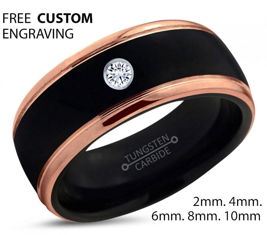 Black Tungsten Ring 18k Rose Gold Black Band Black Wedding Bands
