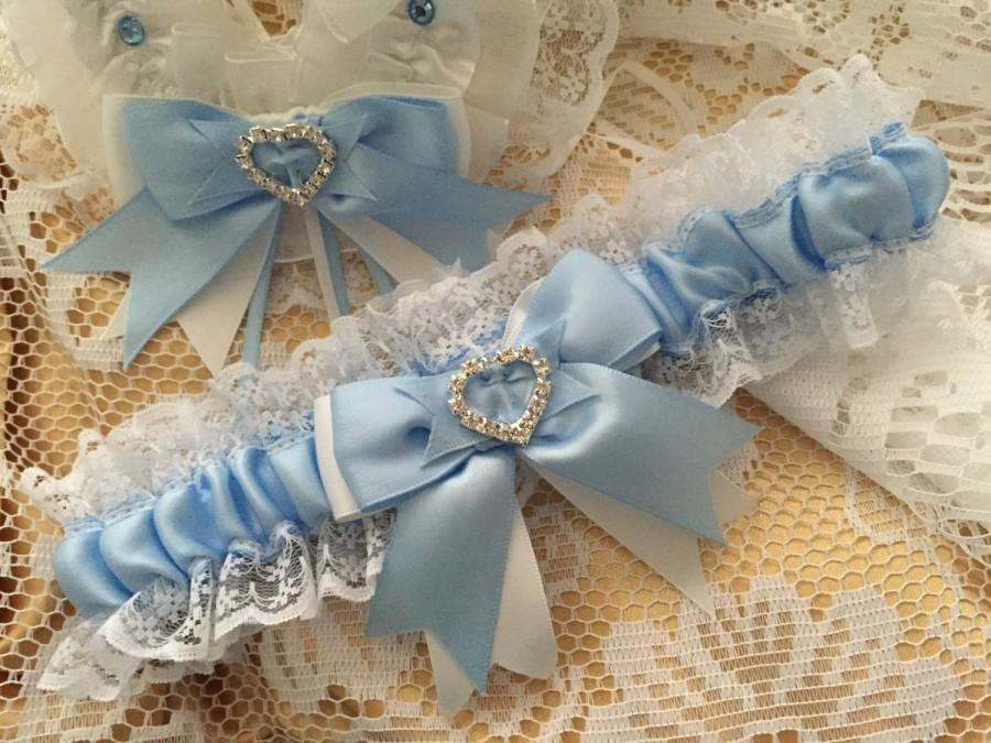 Hochzeit - WEDDING GARTER baby blue and white satin and lace garter heart diamante bows
