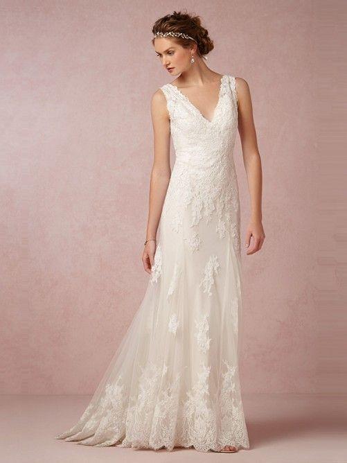 Mariage - Beautiful A-Line/Princess V-neck Sweep/Brush Train Lace Wedding Dress