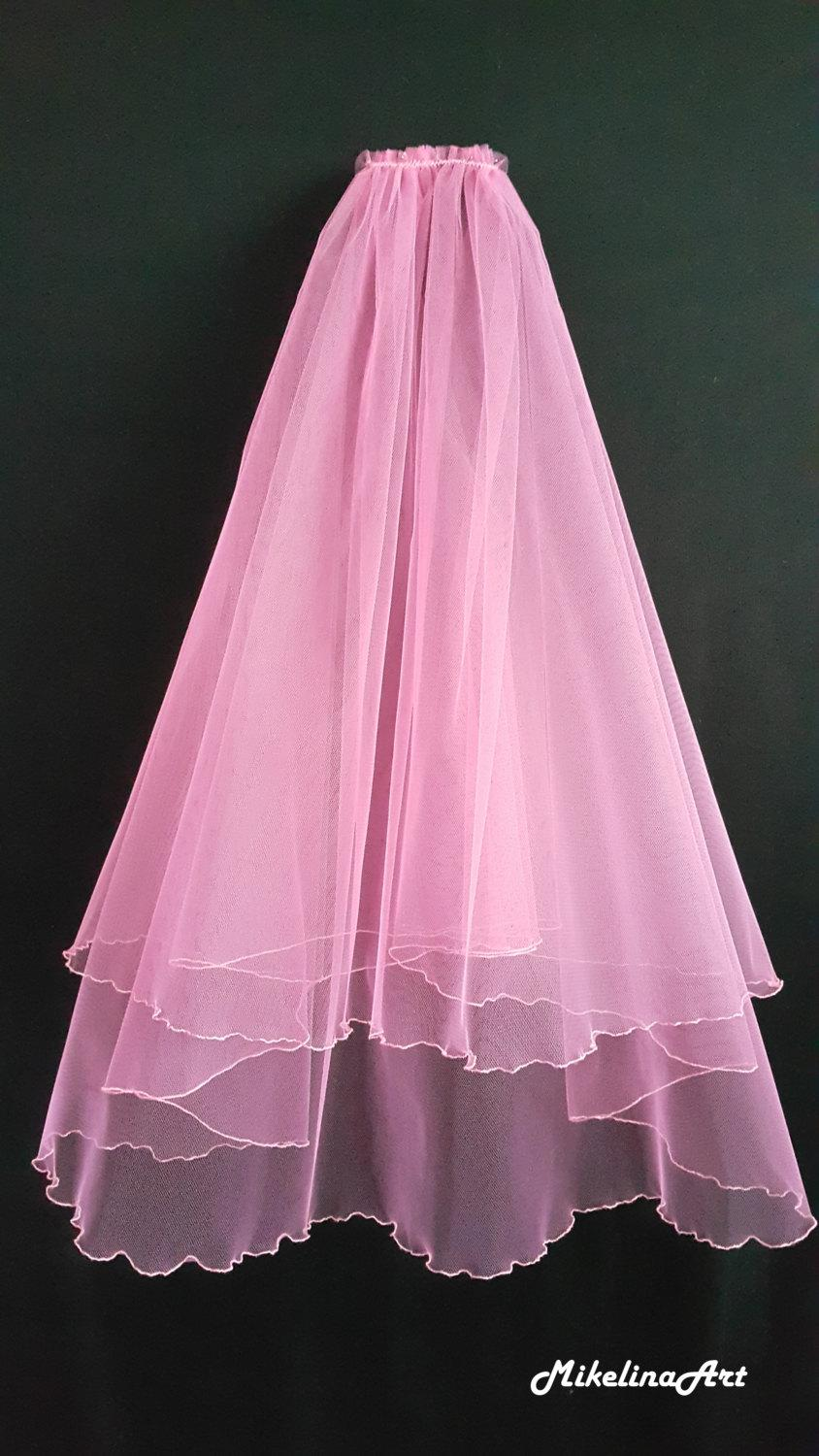 Mariage - Pink Wedding Veil, Two Layers
