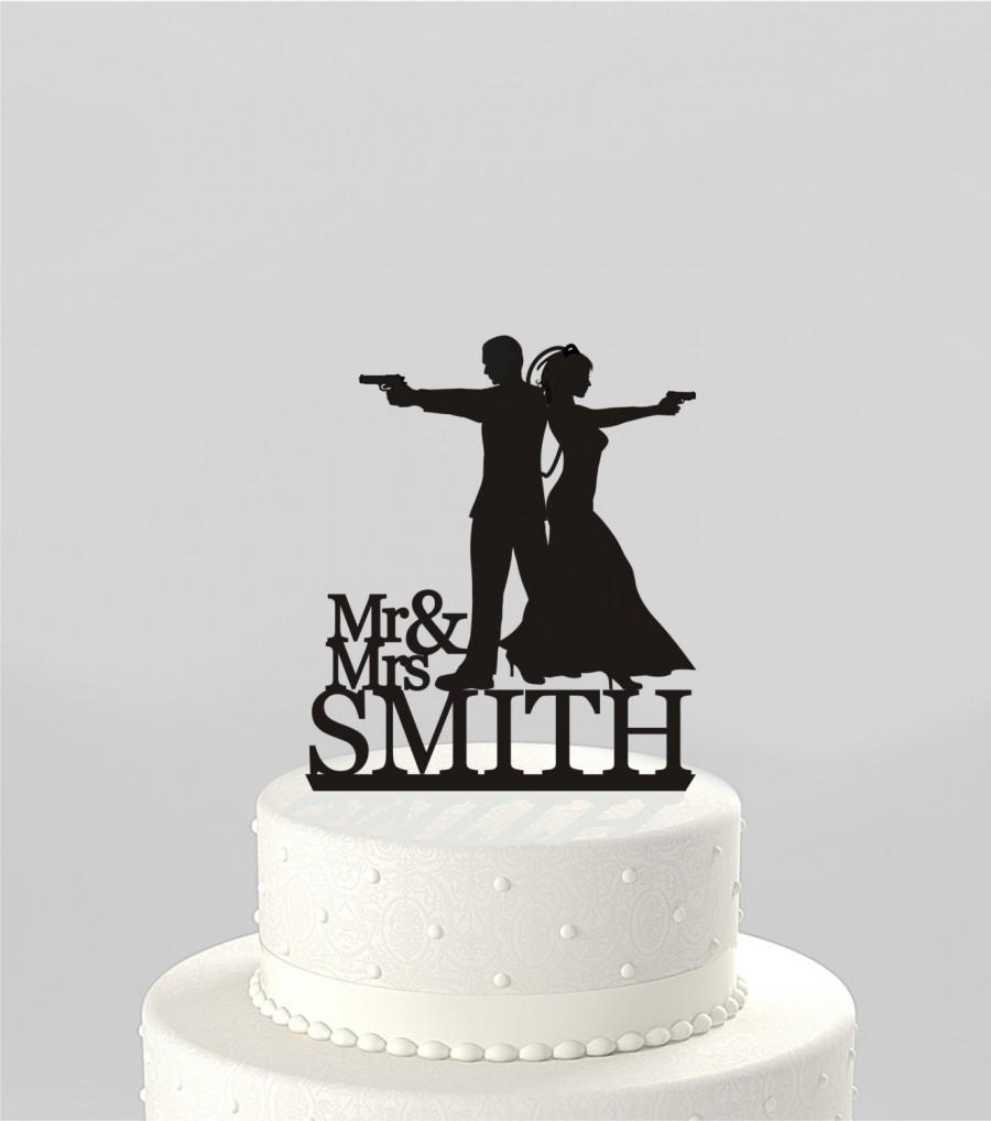 Wedding Cake Topper Silhouette Couple Mr & Mrs \'Smith\' Type ...