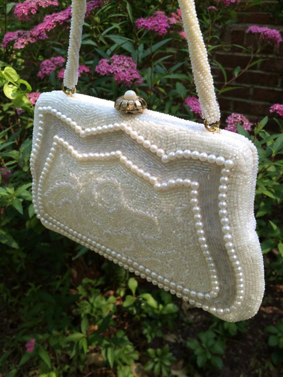 Свадьба - Wedding Purse, Evening Bag, Vintage Beaded Bridal Bag, Made by: Vivant by Sarnie, Weddings, Mid- Century Purse, Style No. 1632