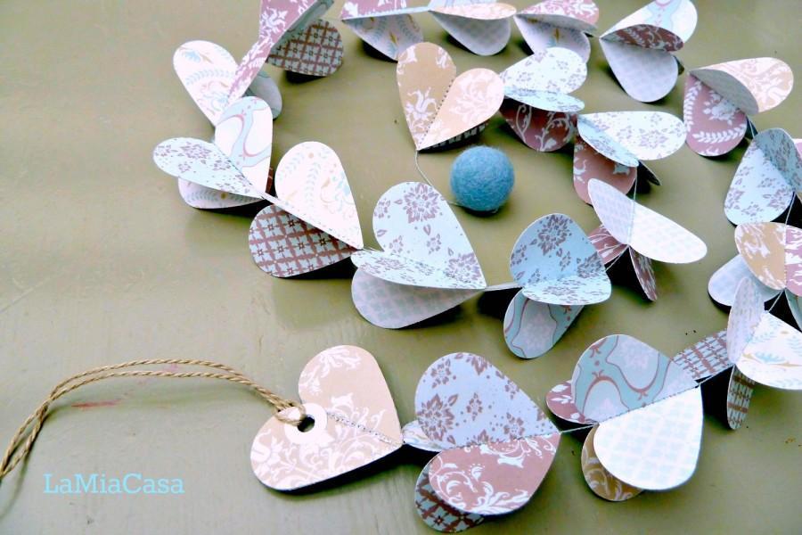 Hochzeit - Duck egg blue, paper garland, blue garland, heart garland, wedding garland, blue wedding, tilda paper