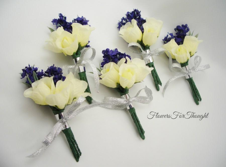 Lavender And Rose Boutonnieres White Rosebud Groomsmen Lapel Flowers Wedding Guest Decoration