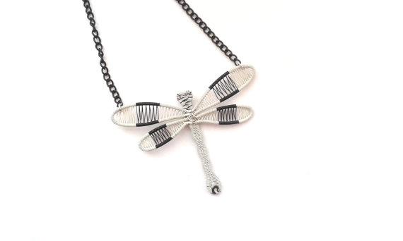 Wedding - Wire Wrapped White And Black Dragonfly Necklace, One Of A Kind Unique Gift Idea For Nature Lovers Mother Sister Birthday, Handmade Gift
