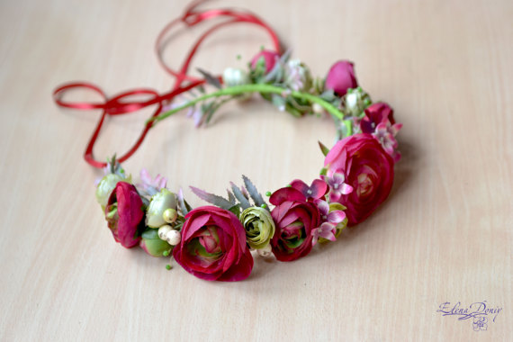 Wedding - Pink red floral crown Boho flower head wreath bridal Ranunculus crown wedding flower halo prom hair dress dark pink flower girl prom