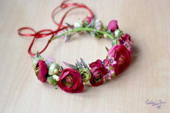 Mariage - Pink red floral crown Boho flower head wreath bridal Ranunculus crown wedding flower halo prom hair dress dark pink flower girl prom