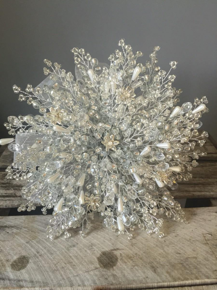 Wedding - Wedding bouqet with crystal flowers white pearls, crystal beads and silver beads with silver ribbon great bouquet alternative.