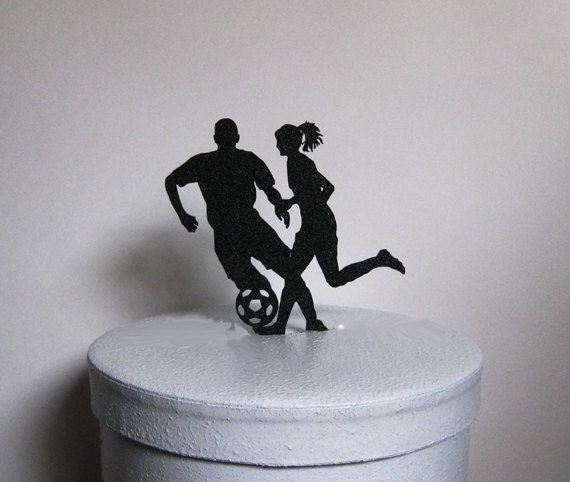Wedding Cake Topper - Soccer Football, Soccer Players Wedding ...