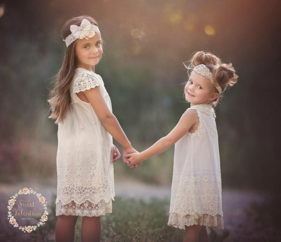 Свадьба - Ivory lace dress, Baptism girl,rustic flower girl dress  girls lace dress, Ivory lace dress,christening dress, flower girl dress, baby dress