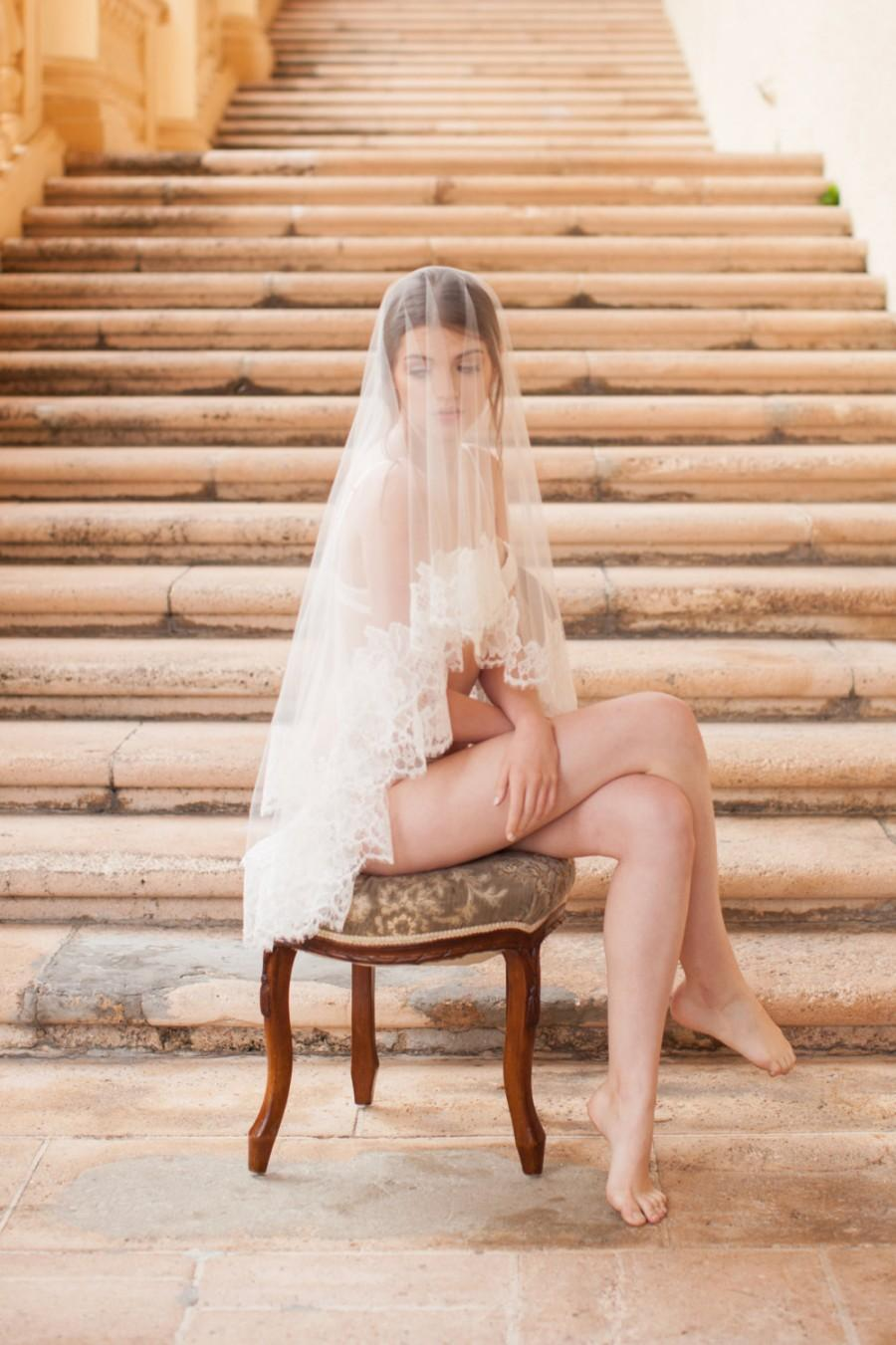 Mariage - Roseline French Lace Veil in Ivory or Off-white