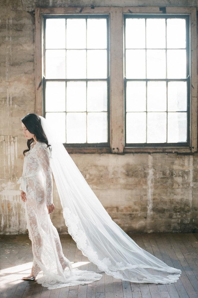 Mariage - Sophia French Lace Cathedral Length Veil