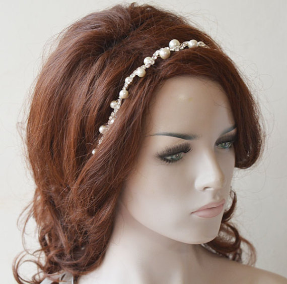 Wedding - Pearl Headpiece, Pearl Bridal headband, Bridal Hair Accessories, Hair Accessories Wedding, Hair Jewelry