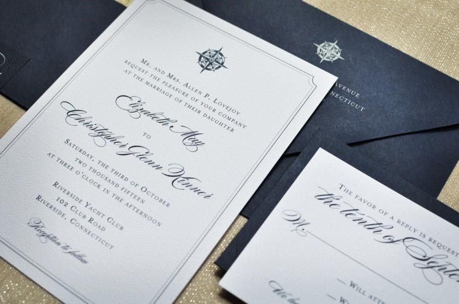 Свадьба - Wedding Invitation - Nautical - Navy - Seaside - Compass