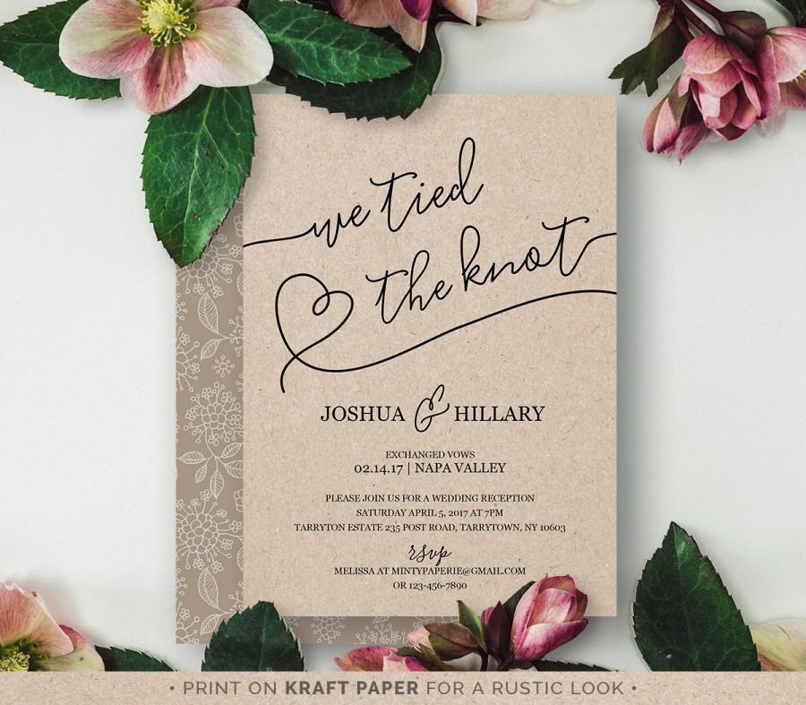 printable elope announcement we tied the knot rustic wedding