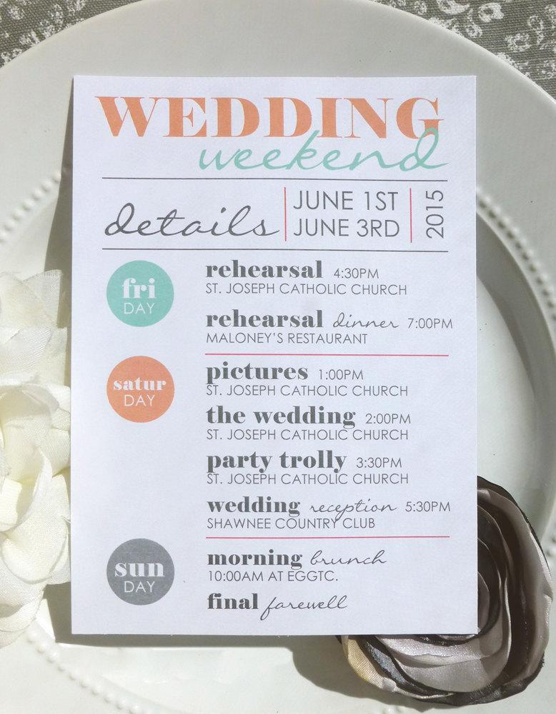 Wedding - Printable Wedding Itineraries - The Cool Card - DIGITAL FILEs - Style IT4 - COOL COLLECTION
