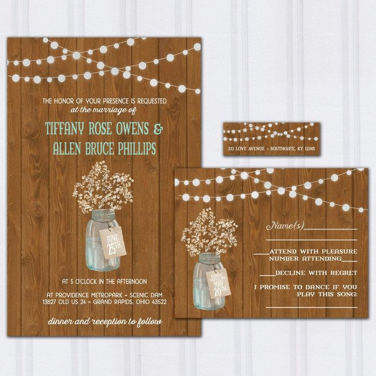 Wedding - Babys Breath Wedding Invitations, Dark Barnwood Invite Set, String Light Wedding Invitation, Ball Jar Budget Wedding, Mason Jar, SAMPLE