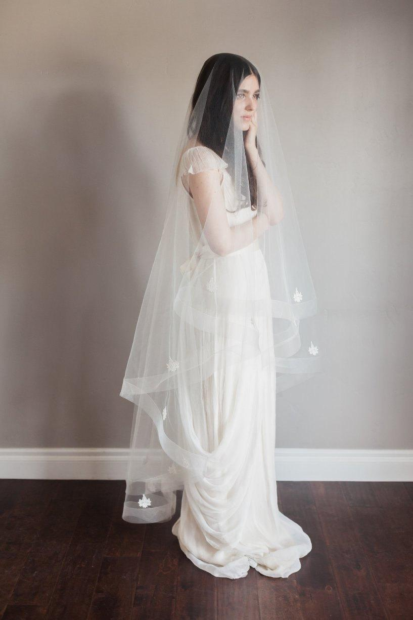 Mariage - NEW-Bridal veil- double layer veil- fingertip veil-drop veil- horse hair wedding veil- waltz veil- circle veil- cathedral veil-style 180