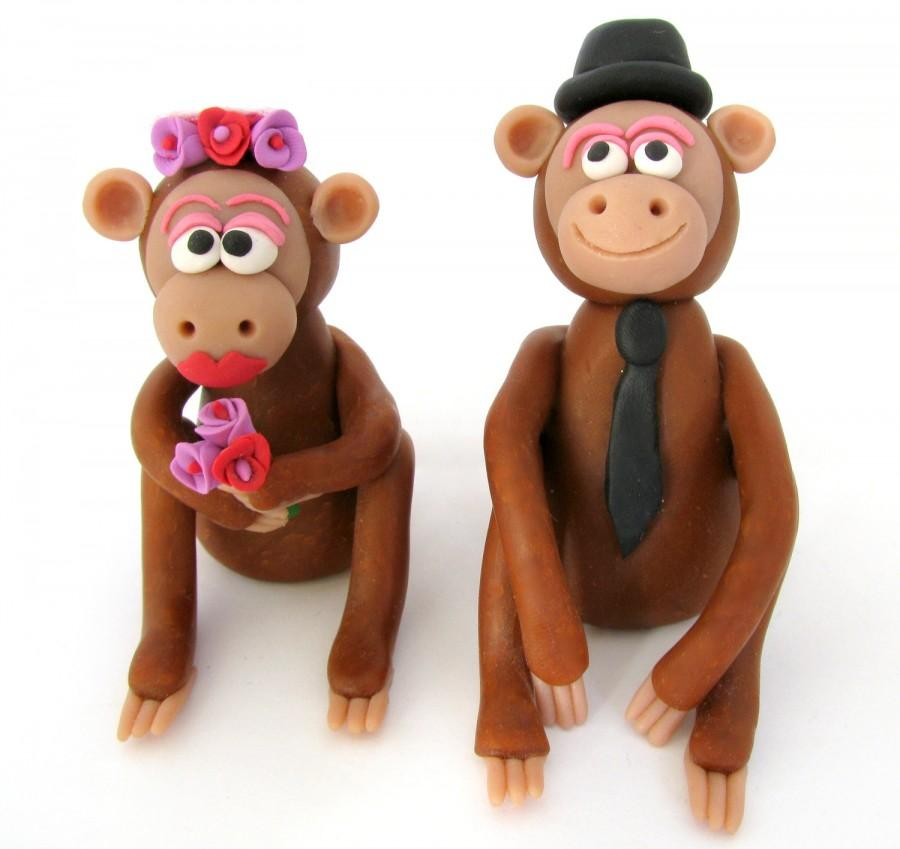 Hochzeit - Monkey wedding cake topper, bride and groom