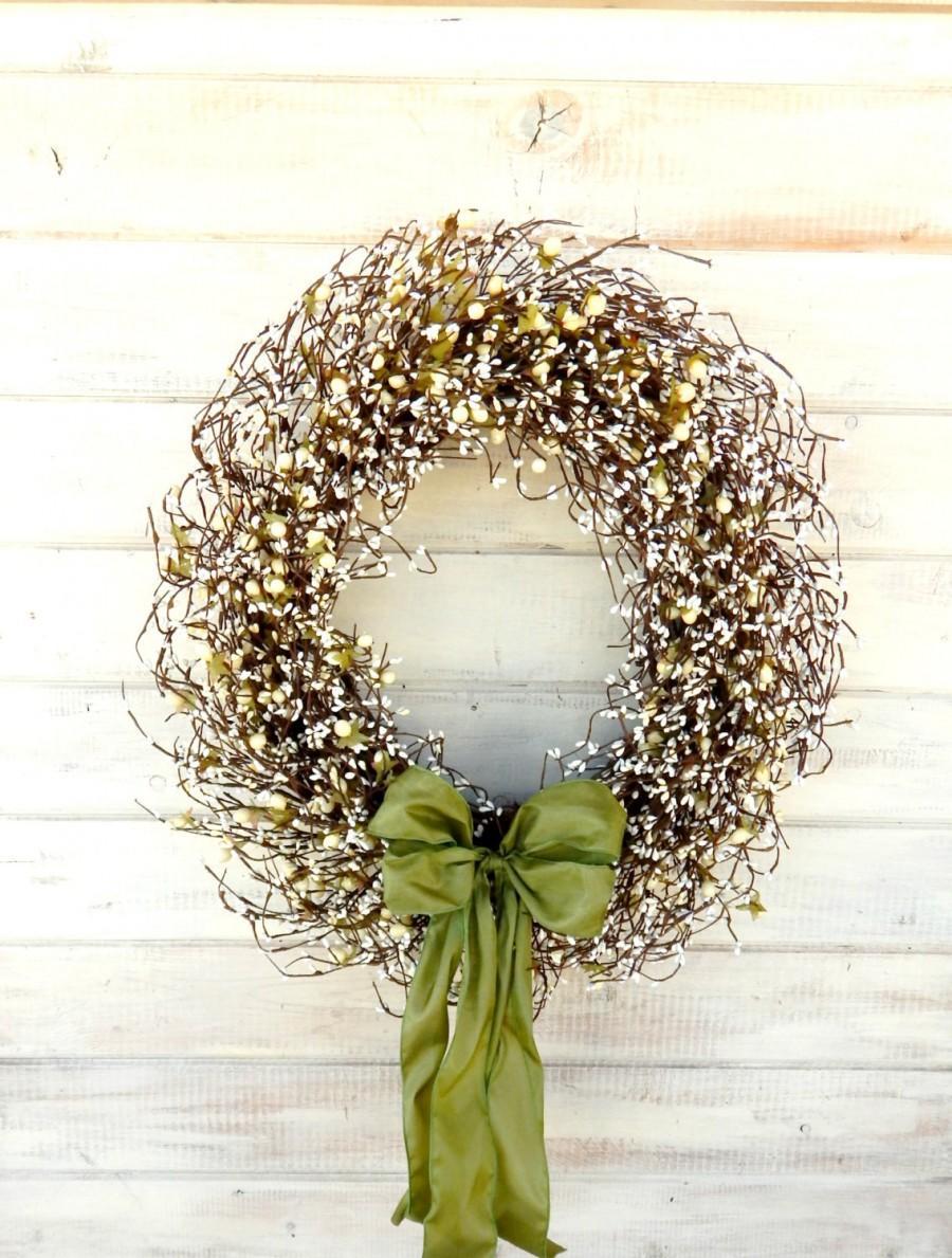 LARGE Wedding Wreath Winter Wedding Decor SAGE U0026 CREAM Door Wreath Scented  Wreath Winter Door Wreath Front Door Decor Wedding Decorations