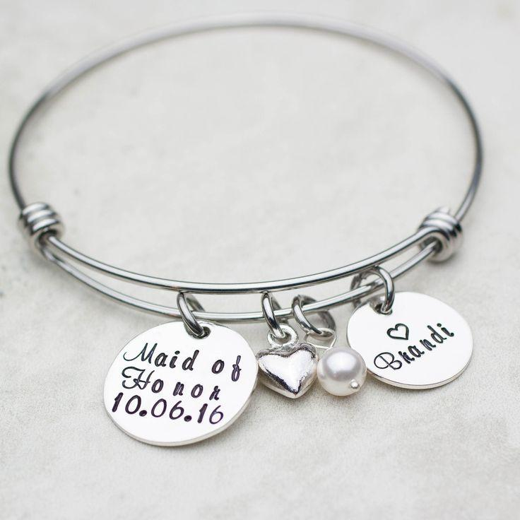Hochzeit - Maid Of Honor Personalized Expandable Bangle Bracelet