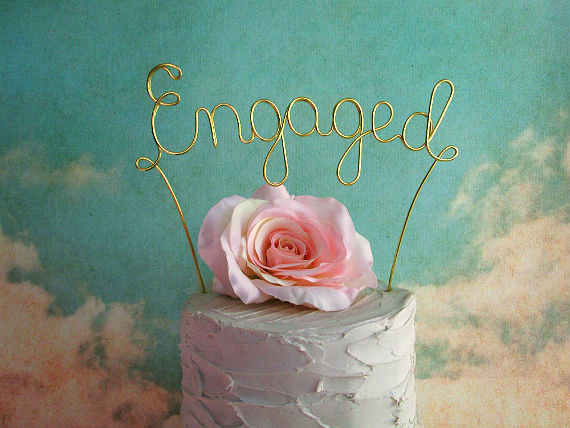 Wedding - Personalized ENGAGED Wedding Cake Topper - Custom Shabby Chic Wedding Cake Topper,Rustic Wedding Cake Decoration,Engagement Party Decoration