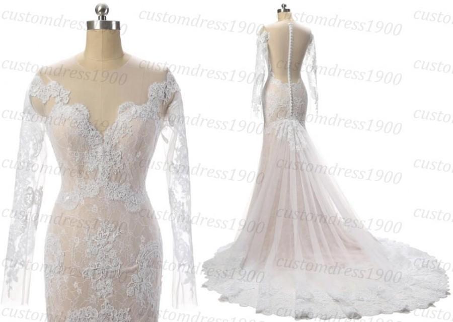 Свадьба - Long Sleeve Elegant Wedding Dress Handmade Lace Mermaid Wedding Gowns White/Ivory Bridal Gowns Lace Dress For Wedding