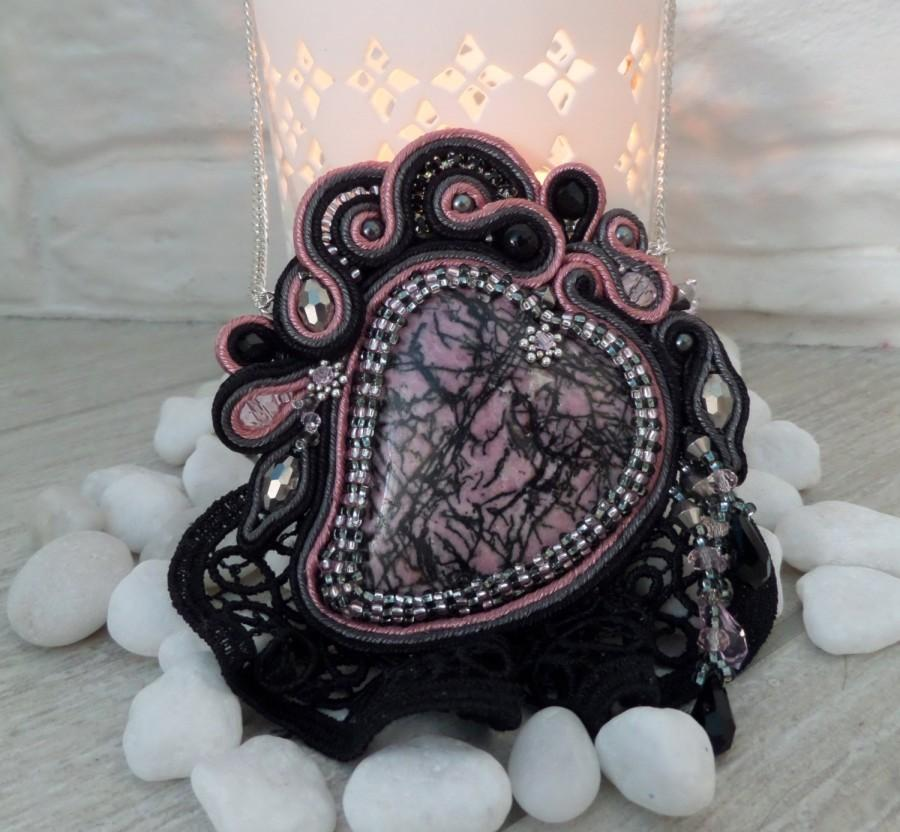 """Wedding - Rhodonite Soutache Pendant   """"The Eclipse of the heart"""" -  Luxury unusual black and pink Jewelry  with Rhodonite, OOAK"""