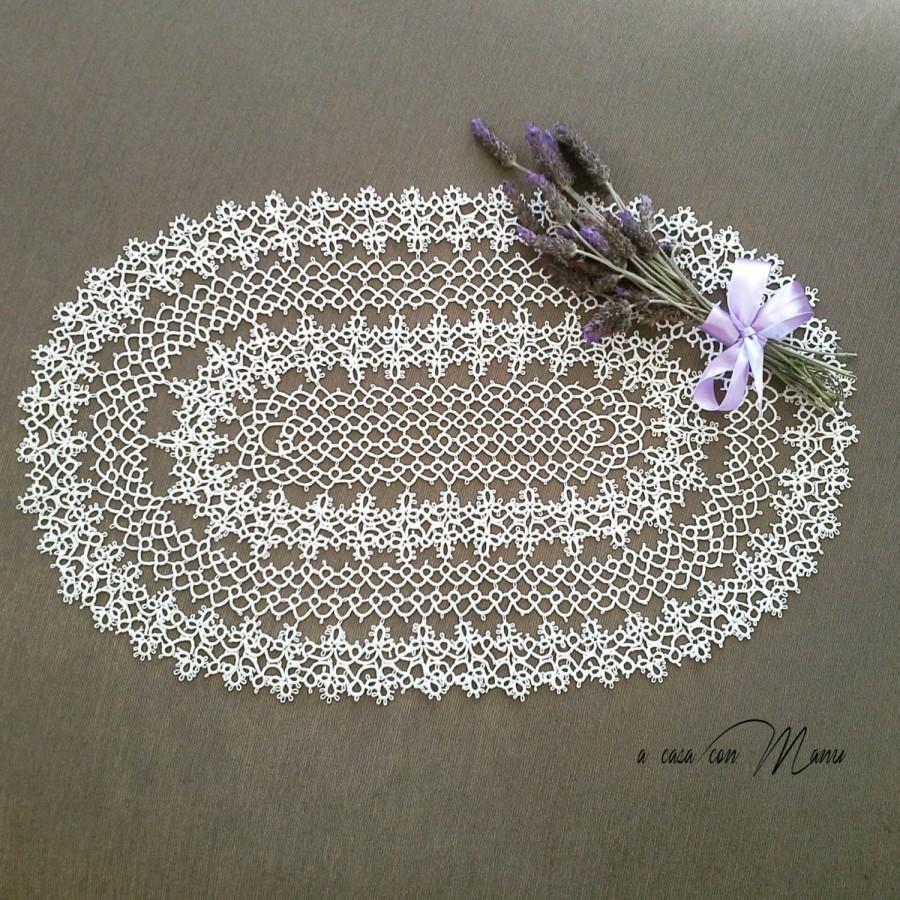 Wedding - Centrino a chiacchierino - Center tatting - centrino ovale - regali per le nozze - white cotton thread - White -  handmade - made in Italy
