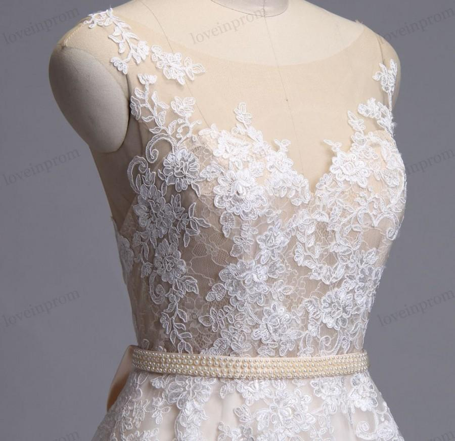 Свадьба - Vintage lace wedding dress, wedding dress, bridal gown, sleeveless illusion back sweep train lace dress for wedding with champagne lining