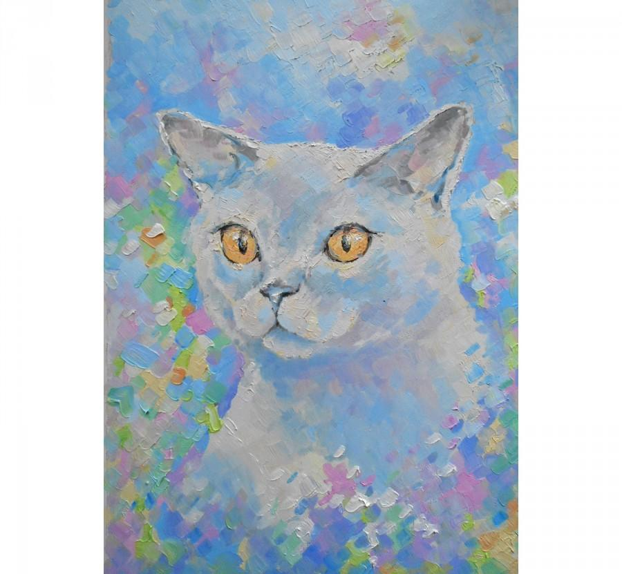 Wedding - Hand made Original White cat oil painting portrait yellow eye tabby Funny wall decor Art Gift idea for petlovers decoration bedroom blue art