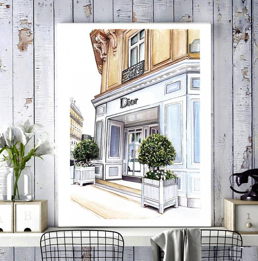 Wedding - Dior shop, fashion illustration, fashion print, fashion art, Dior, art print, fashion drawing, painting, watercolor